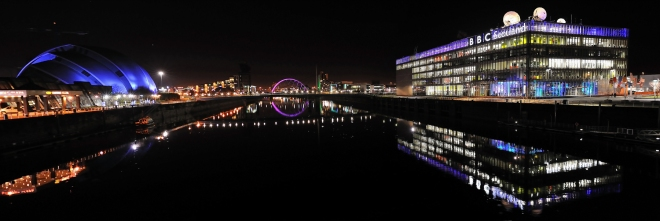 Glasgow City Centre on the Clyde at night